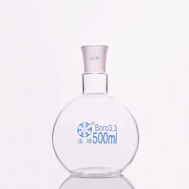 תקן אחד תחתית שטוחות פה בקבוק, 500 ml קיבולת ומשותף 24/29, צוואר יחיד בקבוק שטוח, רתיחה צפחת