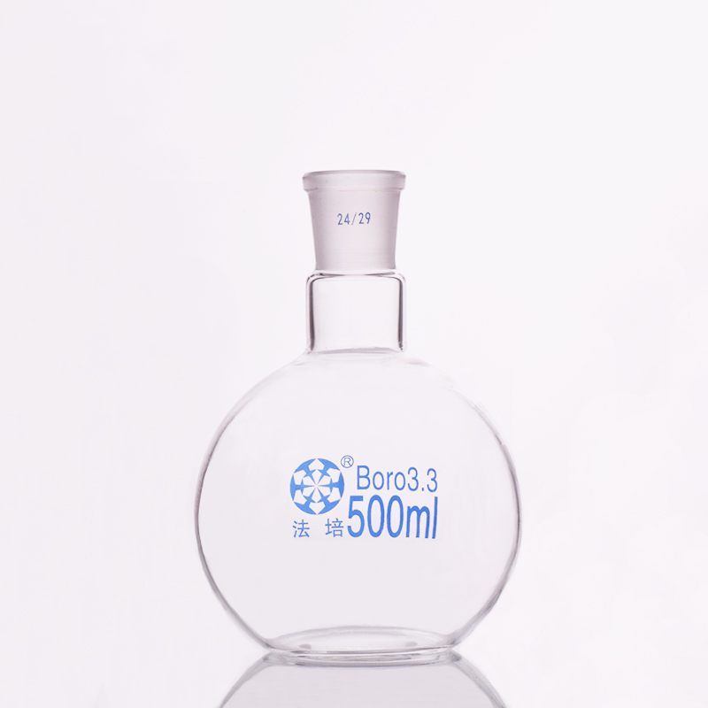Single standard mouth flat-bottomed flask,Capacity 500ml and joint 24/29,Single neck flat flask,Boiling flask