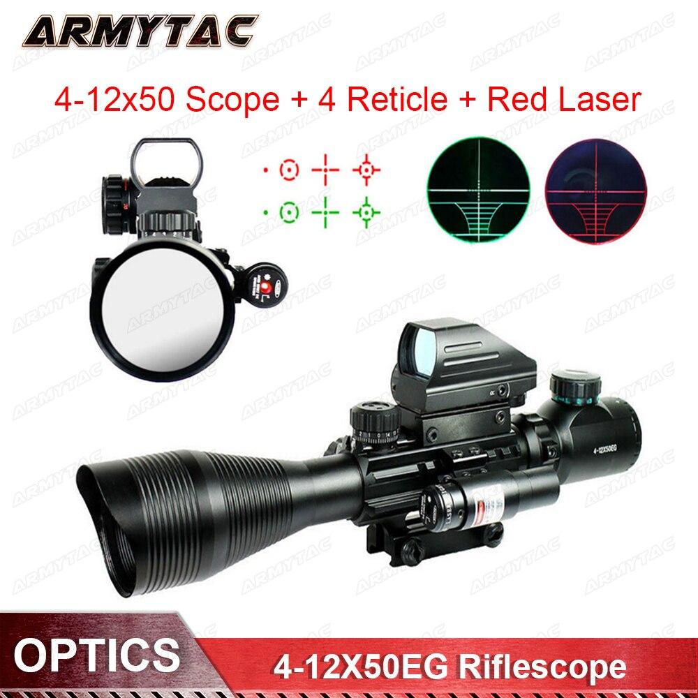 Tático 4-12X50EG Red & Green Iluminado Rifle Scope com Retícula de Mira Holográfica 4 & Laser Vermelho para A Caça