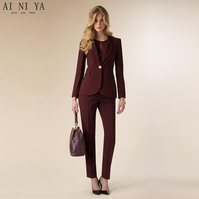 para mujer mujer negocios pantalones traje uniforme vino para oficina Pantalones rojo de Chaqueta de t7PXqwx4x