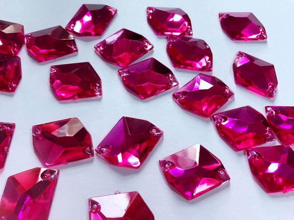 50 Pink facettes acrylique à coudre à coller sur Cristal Strass Strass Gemmes