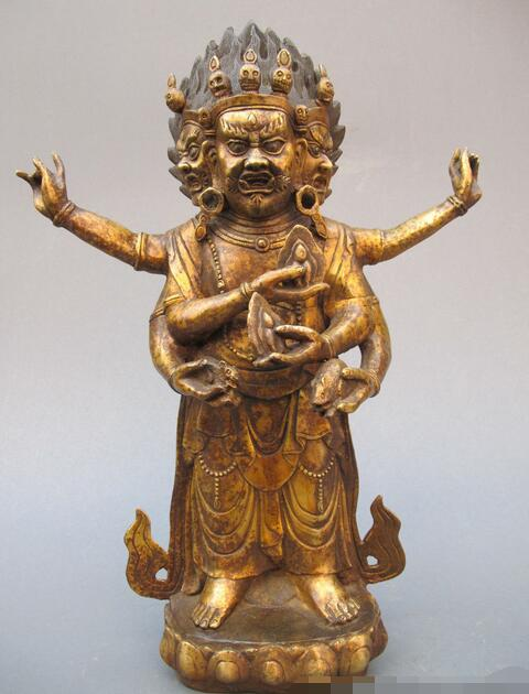 16Tibet Buddhist Fane 3 head 6 Arm Mahakala Buddha Old Bronze Mahakala Statue16Tibet Buddhist Fane 3 head 6 Arm Mahakala Buddha Old Bronze Mahakala Statue