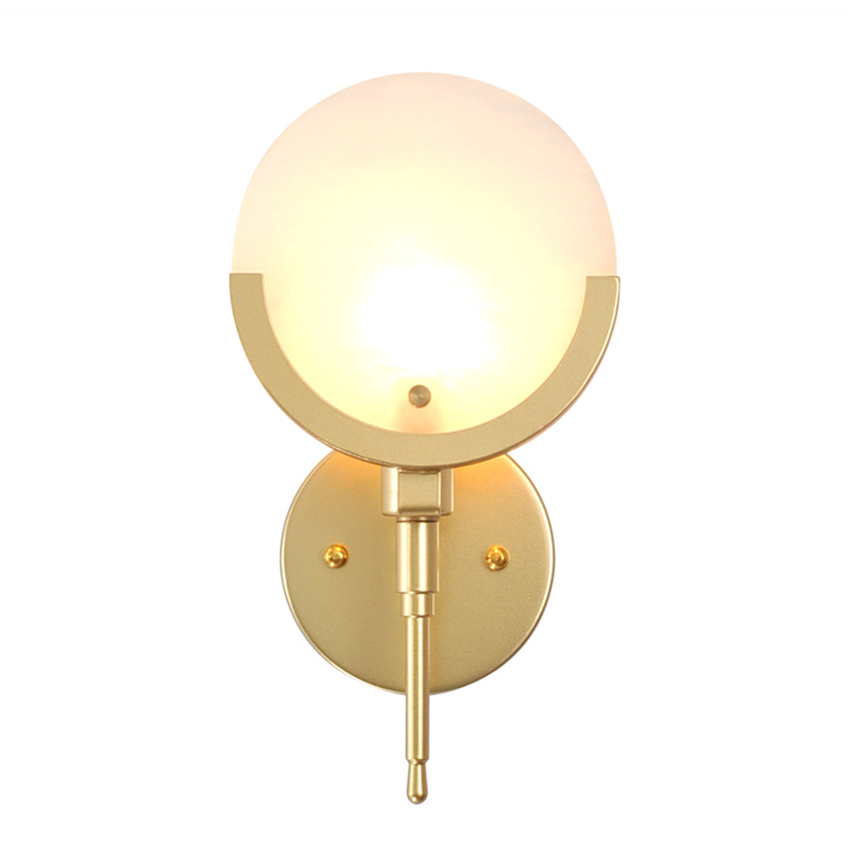Modern Round Marble Golde Wal Lamps Bedroom Wall Lights Decor Creative Bedside Lamps American Minimalist Corridor Light Fixtures modern minimalist acrylic wall lamps smd led creative circle wall lights bedroom bedside lighting corridor balcony stairs lamp