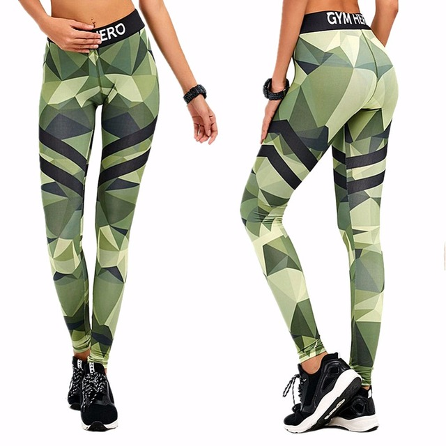 Camouflage Green Sporting Legging for Women European Style High Quality Trousers Pants Sexy Ladies Push up Leggings 17HL007