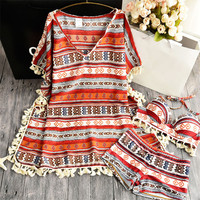 Bohemia Folk Style Popular Female Swimsuit Small Chest Gather Steel Support Three Sets Of Hot