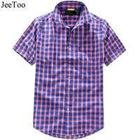 JeeToo 녹색 보라색 격자 무늬 남성 셔츠 짧은 소매 미국 크기 캐주얼 남성 셔츠 여름 코튼 슬림 맞춤 남성 블라우스 Camisa xadre2
