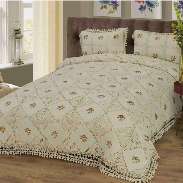 Trustworhy Crochet And Embroidery Bed Spread Handmade Chrochet Cover