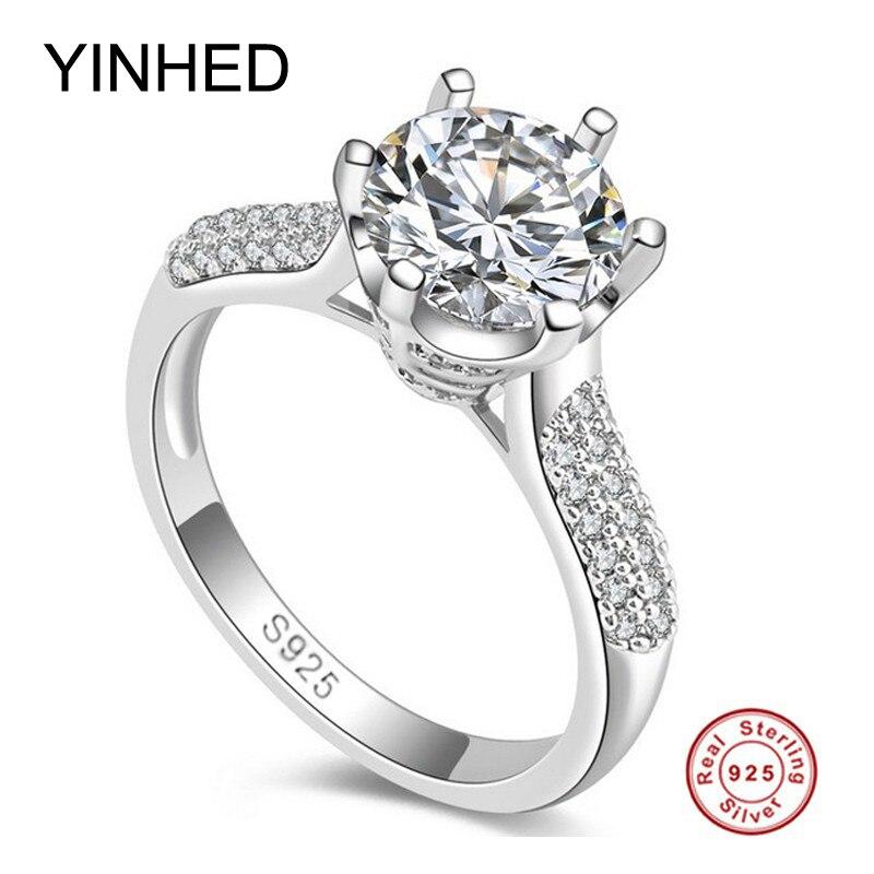 95% OFF! yinhed 2ct ronde sona cz diamant bague de fiançailles solide 925 en argent sterling anneaux de mariage pour les femmes timbre s925 zr156