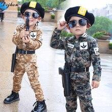 Детский спортивный костюм для мальчиков, армейская форма, камуфляжные куртки для мальчиков и девочек, корейский весенний комплект одежды для детей, детская одежда