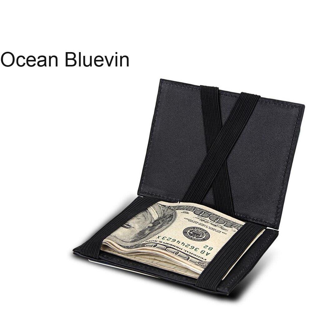 Ozean Bluevin Koreanische Version Der Magische Geldbörse Schellen Für Geld Für Männer Geldbörse Ultra-dünne Carteira Dünne Leder Brieftasche Id Cred
