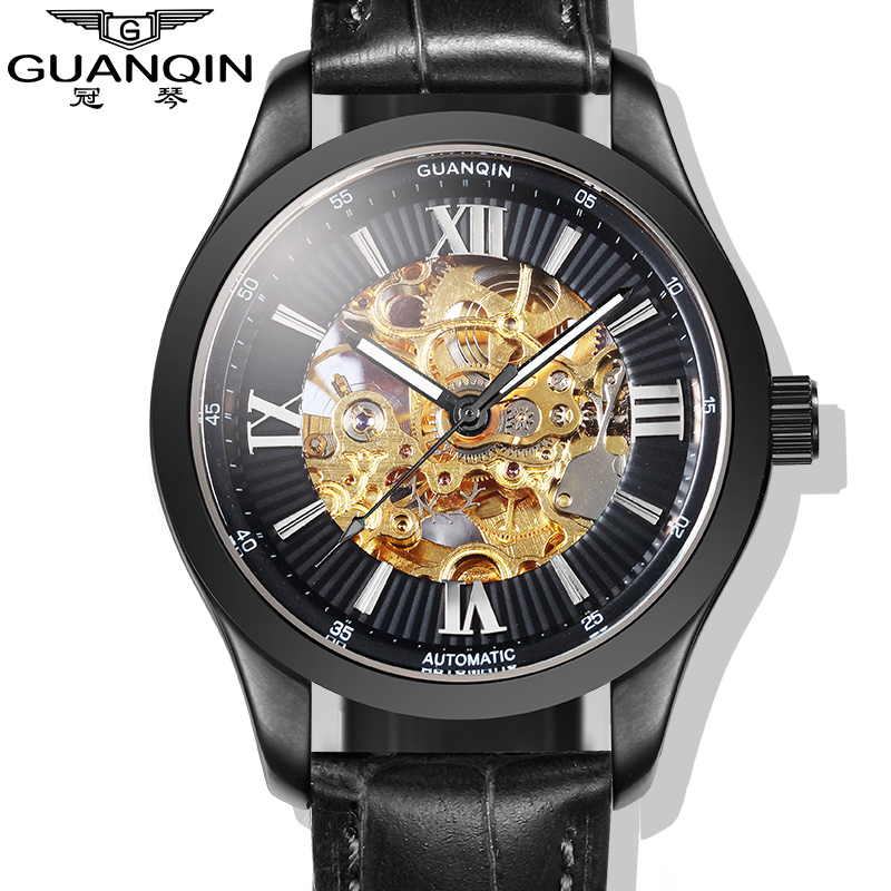 Luxury Brand GUANQIN 2015 Fashion Skeleton Watches Men Wristwatches automatic Mechanical Watches Rose Gold oem 2015 j 60cmhm385 gold watches