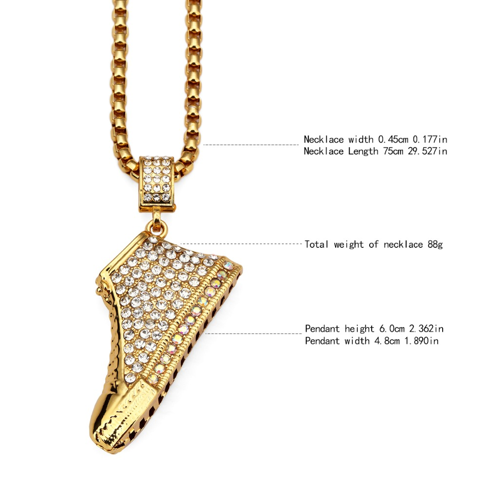NYUK 10pcs Lot Gold Sneaker Shoe 3D Crystal Iced Out Shoes Pendant Necklace  Hip Hop Miami Cuban Curb Chain For Men Women Gifts -in Pendant Necklaces  from ... 366e332be7e9