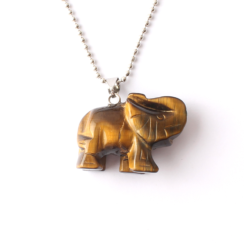 14K Natural Tiger/'s Eye elephant charm pendant for necklace NEW