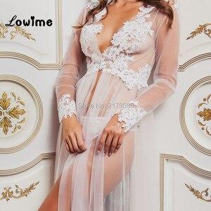 Image 3 - Hot Sexy White Applique Wedding Robe See Through Wedding Shawl Bridal Cape 2018 New Custom Made Bridal Sleepwear Nightgown Cheap