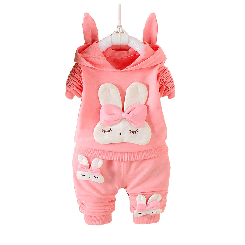 Autumn Kids Girls Baby Infants Children Bow Rabbit Hooded Coats Outwear Sweatshirt+Long Pants 2PCS Casual Clothing Sets MT1473