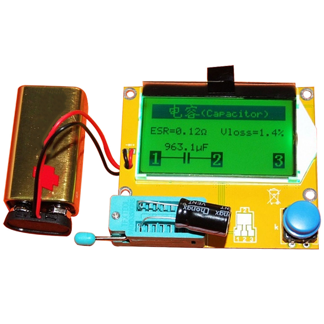 Digitale LCR M328 V2.68 ESR-T4 Diode Triodo Capacità di MOS/PNP/NPN LCR 12864 Tester Schermo LCD per ESR meter di Prova Transistor