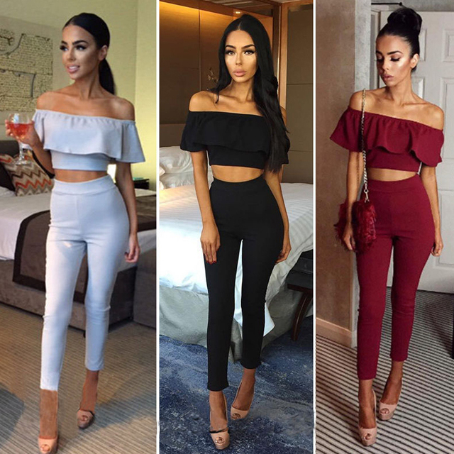 beac484549ca New Style Sexy Off Shoulder 2 Piece Set Long Jumpsuit Slim Ruffles Bodycon  Femme Overalls Playsuit
