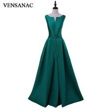 VENSANAC 2018 V Neck Bow Sash A Line Long Satin Evening Dresses Elegant Party Tank Lace Up Back Draped Prom Gowns
