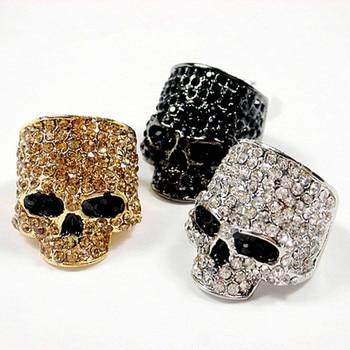 Anillos de calavera de marca para hombres Rock Punk Unisex cristal negro/oro Color motociclista anillo hombre moda calavera joyería al por mayor
