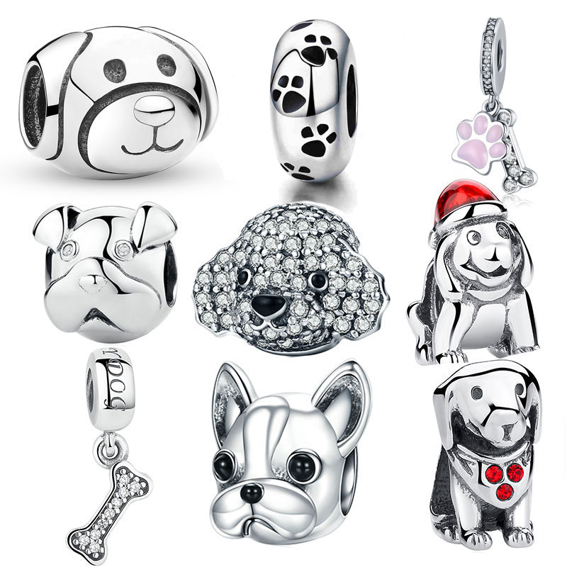 925 Sterling Silver A Dog 's Story, Poodle Cute Puppy French Bulldog Beads Charm Fit BISAER Charms Silver 925 Original Bracelet