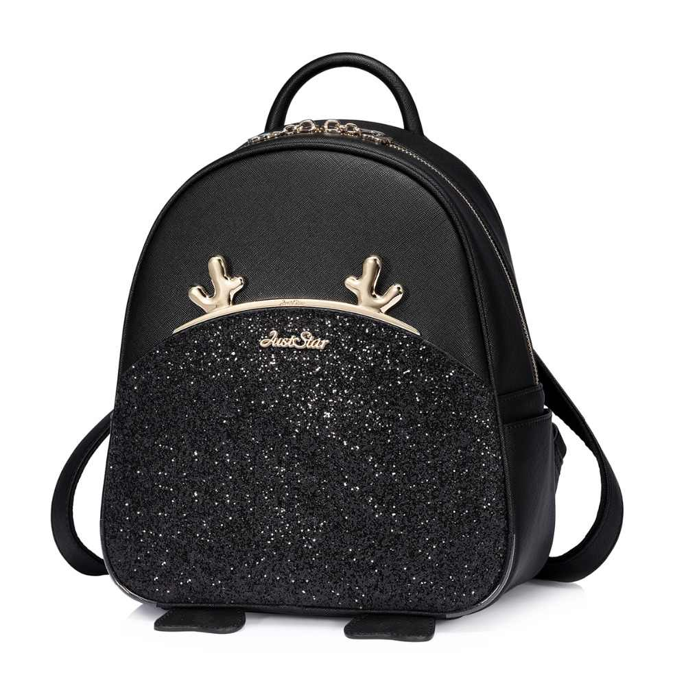 c39aea934b53 ... JUST STAR Brand Women s Leather Backpack Female Fashion Cartoon Deer  Horn Tassel Double Shoulder Bags Ladies ...