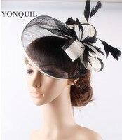 Alta qualidade 18 cores selecione cocktail chapéus fascinator base de sinamay com flor de penas acessórios para o cabelo de casamento ocasião chapéus
