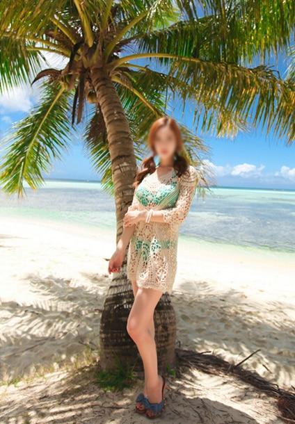 New Women Bathing Suit Sexy Crochet Bikini Swimwear Cover Up Beach Dress Beige