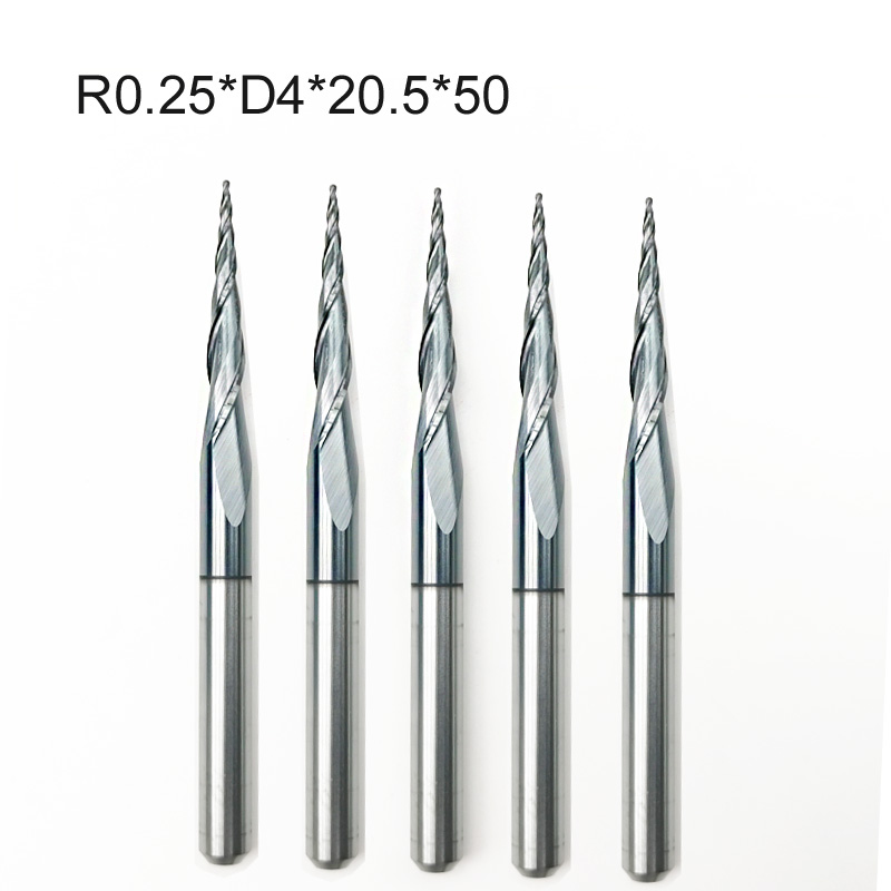 5pcs/lot R0.25 X 4mmx 20.5x 50L Shank 2 Flutes Tungsten Solid Carbide Coated Tapered Ballnose Woodworking Milling Cutter