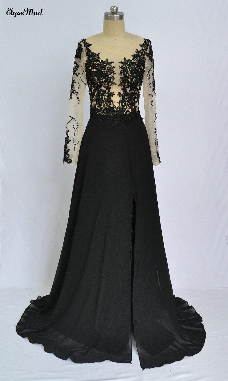 2018 a-ligne robes de bal encolure dégagée Sexy manches longues Appliques dentelle mousseline de soie robes de bal longue robe tenue de soirée pas cher