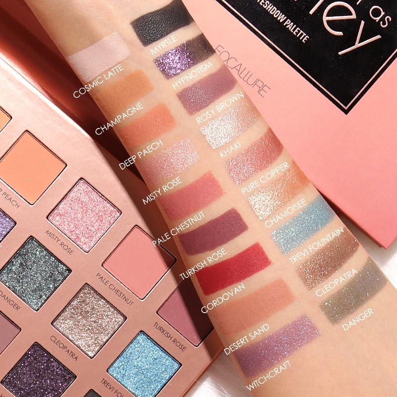 Focallure 18 Cores Pigmento Glitter Sombra de Olho Paleta Da Sombra de Olho À Prova D' Água fácil de Usar Brilho maquiagem Sombra
