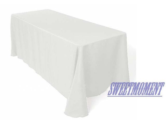 Beau White Rectangular Polyester Table Cloth Good Quality Tablecloth  Banquet/wedding Table Fabric
