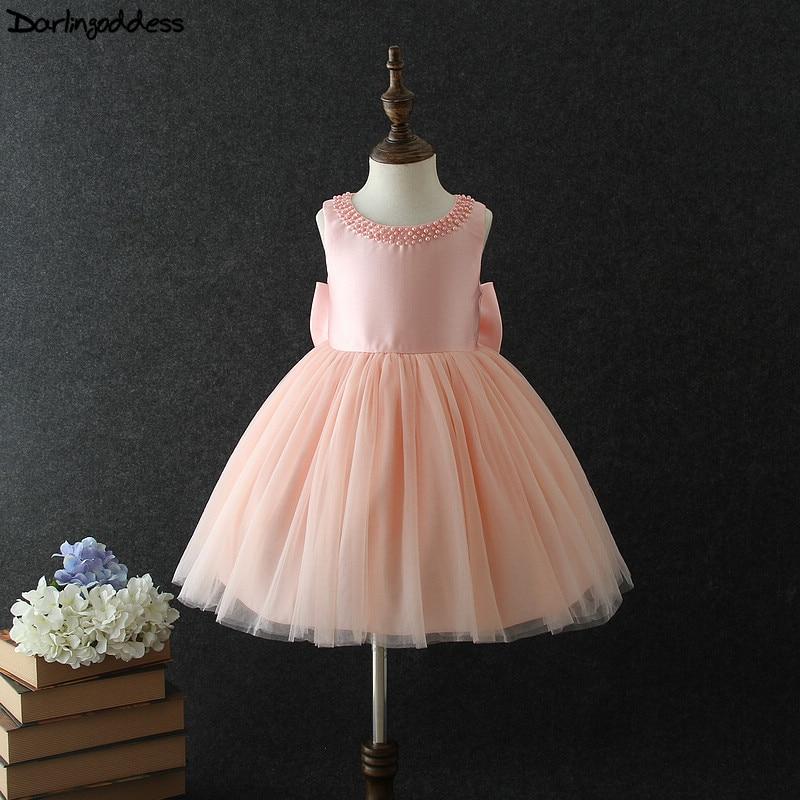Darlingoddess 2018 Girls Pageant Dresses Ball Gown Sleeveless Big Bow Pearl Pink Kids Prom Tutu Flower Girl Dresses For Weddings
