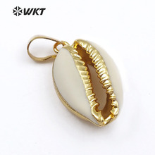 WT P547 nowe podejście mody małe naturalny złoty shell wisiorek piękny mały cowrie shell wisiorek