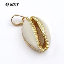 WT P547 نهج جديد أزياء صغيرة الطبيعي الذهب انخفض شل قلادة جميلة صغيرة cowrie شل قلادة