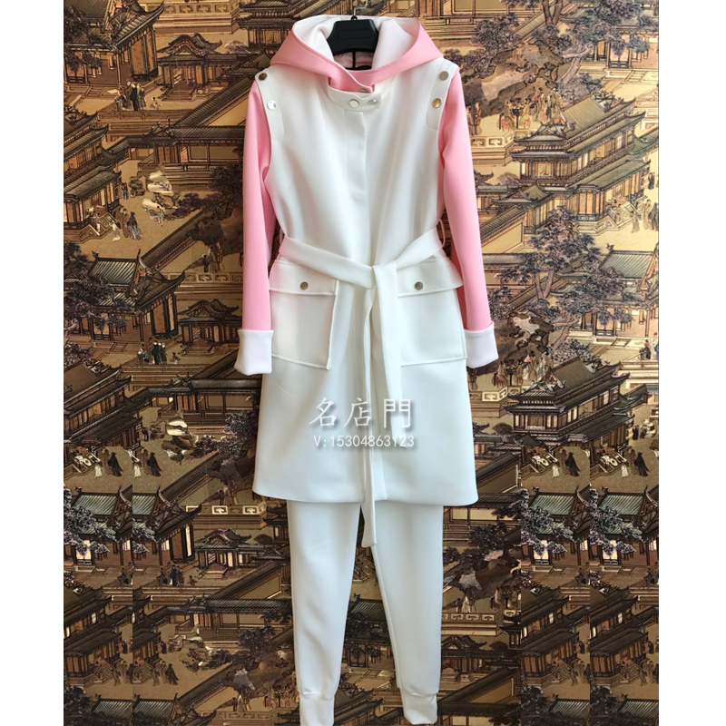 2017 paragraph of the spring section of the white cotton air visual blind two casual suit tide womens dress 2 suits