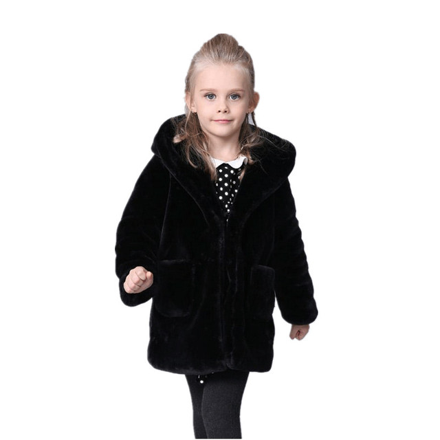 f31630000a01 Furry Winter Baby Girls Faux Fur Black Coats Jacket Snowsuit ...