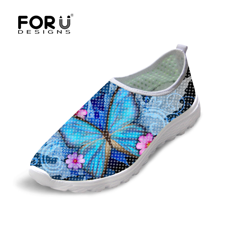 FORUDESIGNS Summer Women Casual Shoes 3D Animal Butterfly Printed Flats Breathable Mesh Shoes Woman Lightweight Beach Loafers forudesigns cartoon shark print women flats shoes sneakers casual women s summer mesh shoes beach girls loafers slip on zapatos