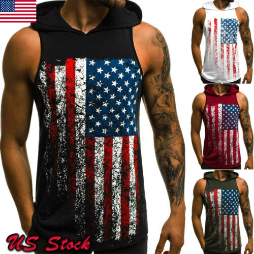 Stylish Hot Sale Men Sleeveless O-neck Hooded   Tank     Tops   Male Summer Casual Bodybuilding Gym Stringer Workout Fitness   Tops   M-3XL