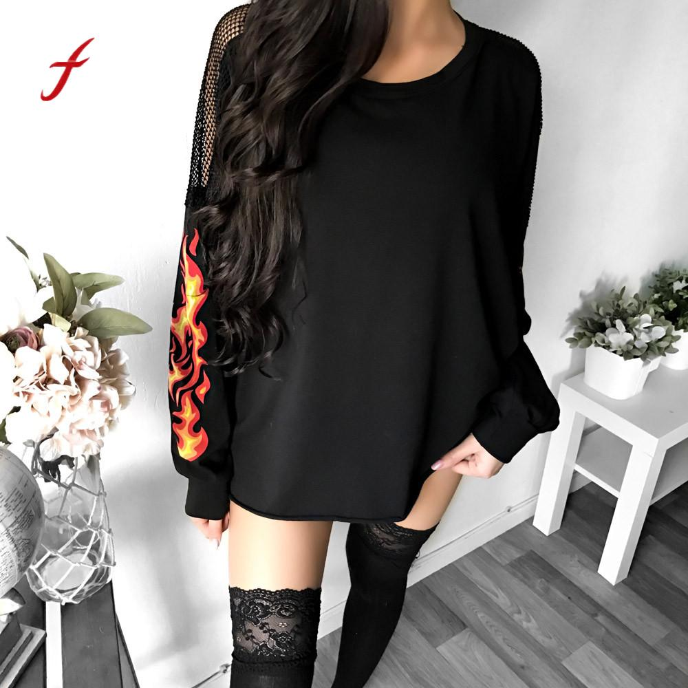 Feitong Harajuku Women Hoodies 2017 Lace Flame Print Sweatshirt Female Winter Warm Loose Pullover Long Sleeve O Neck Jumpers