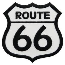 2018 Special Offer Time-limited Handmade 3d Stickers Parches Route 66 Patch White Iron-on Highway Road Sign Biker Emblem(China)