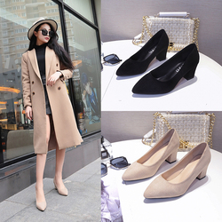 Plus Size 35-43 Women Dress Shoes Square Heeled Pumps Faux Suede Ladies Shoes Pointed Toe Boat Shoes Woman Medium Heeled 1