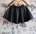 free shipping roupa infantil feminina NEW 2015 autumn winter fashion faux leather black pu A-line children tutu skirts girls
