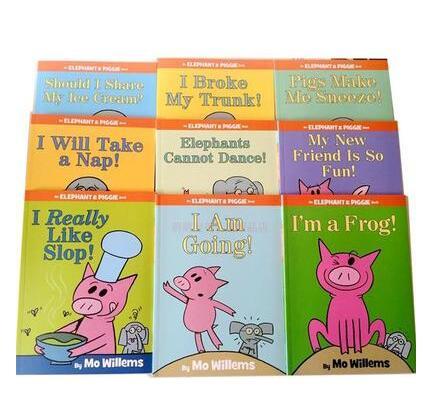 Livre D'histoire pour enfants Éléphant et Piggie Anglais Livre D'histoire pour Enfants Lecture 9 pcs/ensemble