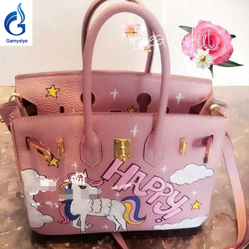Happy horse handbags Genuine Leather women famous Messenger Bag Hand Painted Custom pain ...
