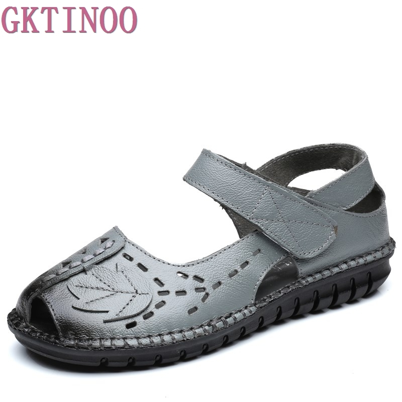 GKTINOO Genuine Leather Vintage Handmade Summer Sandals Women Flats Shoes Casual Soft Outsole Open Toe Gladiator Sandals Women summer mother shoes woman genuine leather soft outsole open toe sandals casual flat women shoes 2018 new fashion women sandals