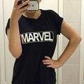 Новый 2016 Женщины Harajuku Футболки MARVEL Письмо Печати Футболки Повседневная Плюс Размер Одежды Tumblr Вершины Тройники Рубашки Poleras Mujer
