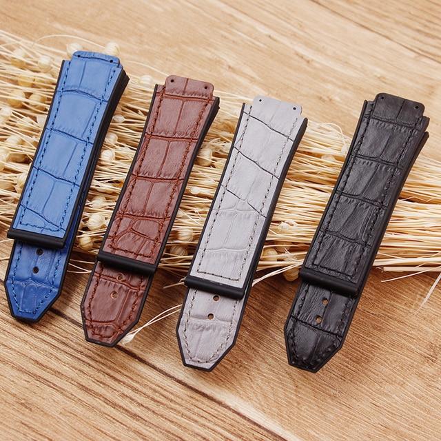 Accessoires de montre en cuir de haute qualité 25 * mm 19mm bracelet en caoutchouc boucle papillon pour bracelet Hublot bracelet de montre pour femme pour hommes