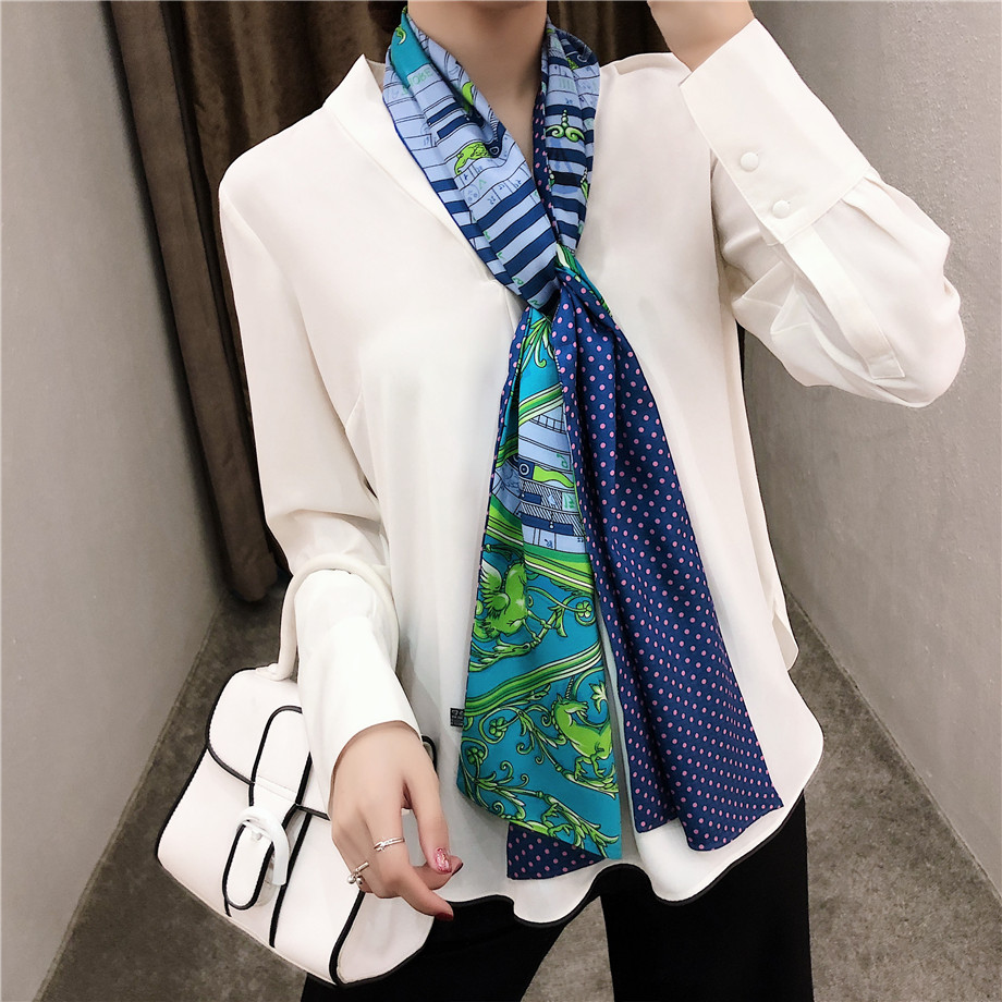 Luxury Brand Double-deck Twill Pegasus Musical Note Print Scarf Women New Design Dot Fashion Neckerchief Silk Scarves For Ladies