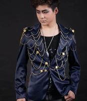 Blue Chain Singer blazers stage rock blazer men suit fashion suits for men blazer jacket masculino Customizable 2XL