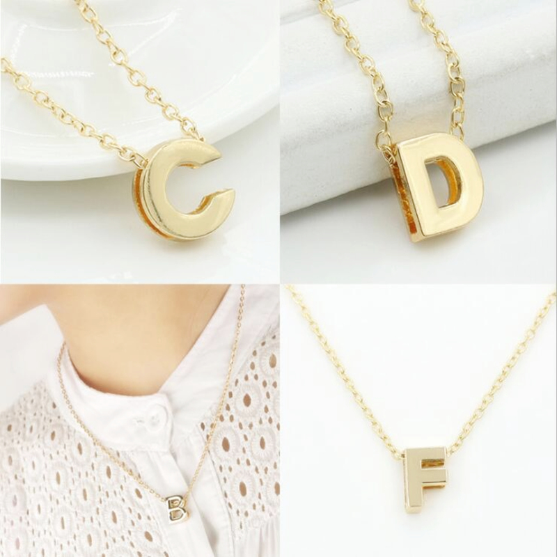 A-Z Gold Color Letter Name Initial Charms Necklace Pendant For Men Women Fashion Personalized Metal Letters Pendants DIY Jewelry